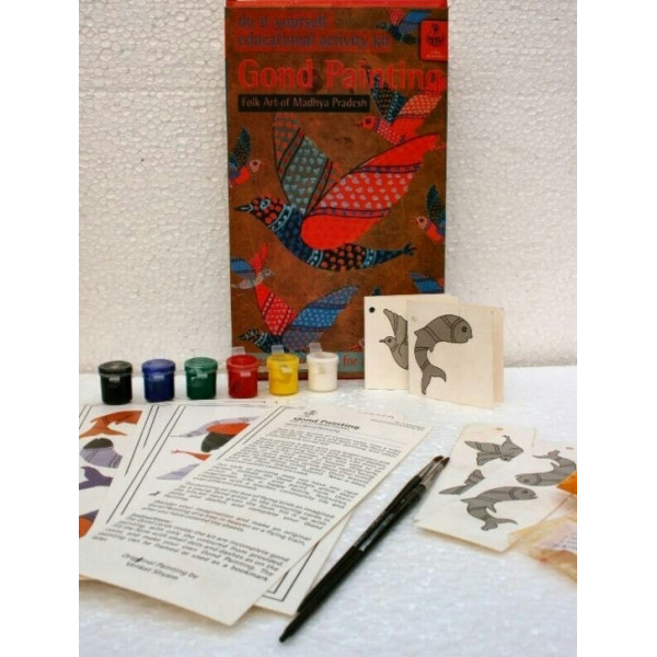 POTLI Handmade DIY Educational Colouring Kit - Gond Painting of Madhya Pradesh for Young Artists (5 Years +)