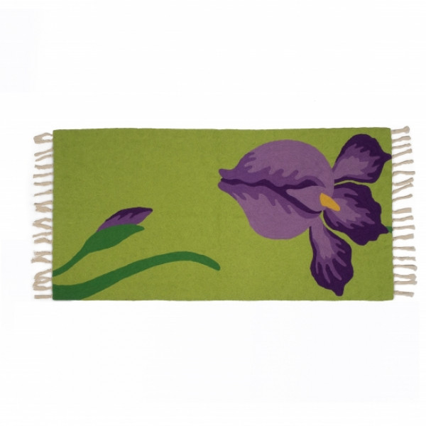 Floral Carpet/Dari in Green and Purple