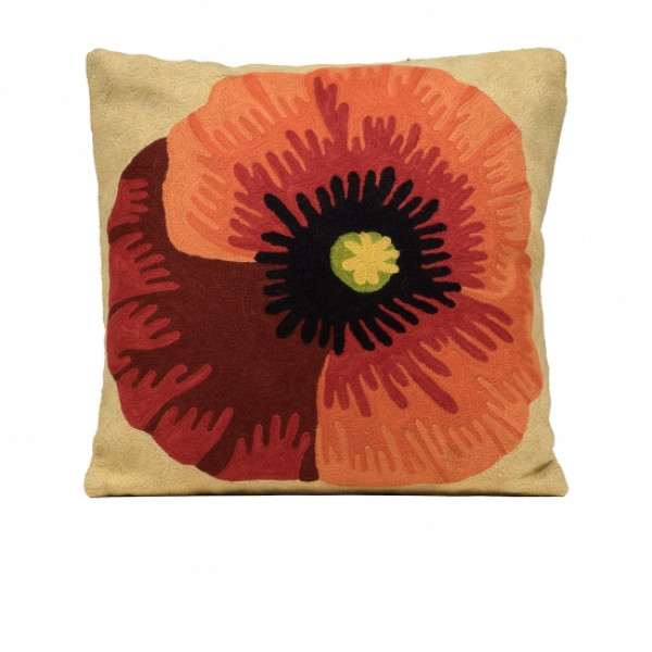 Woolen Cushion Cover In OffWhite and Red