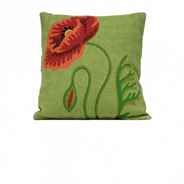 Woolen Cushion Cover in Green and Red