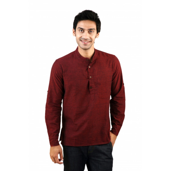 Mens Short Red Kurta