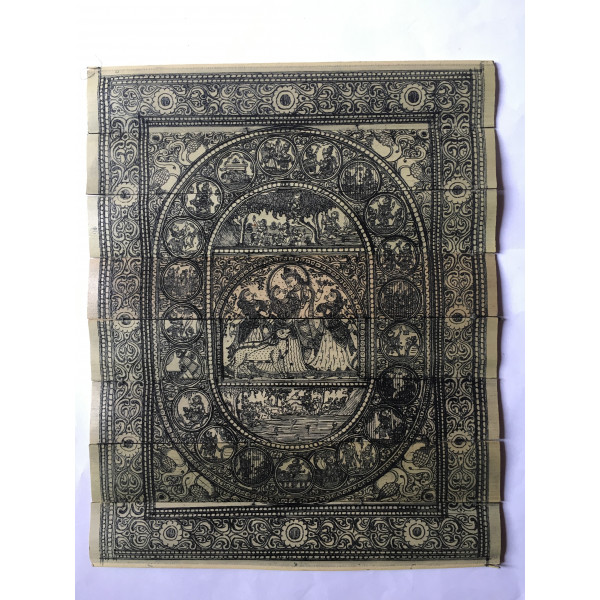 Akruti Handicraft Palm leaf lord radha krishna with full story engraving story in pattachitra.