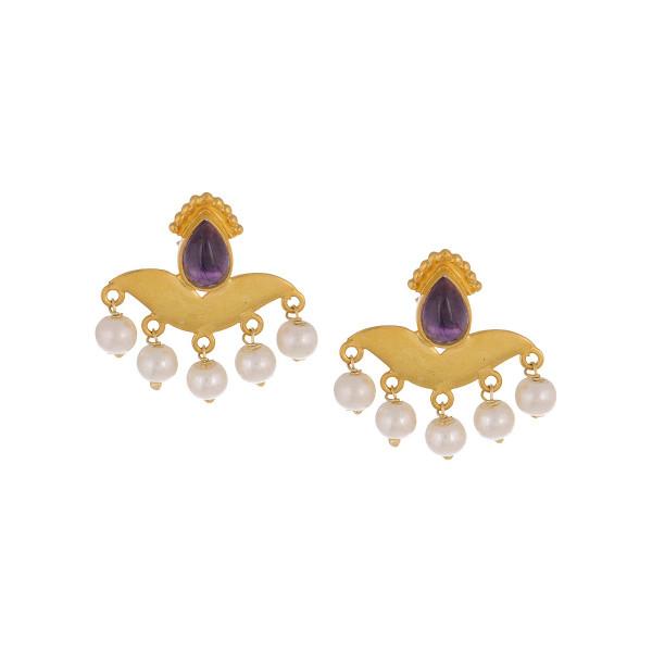 Floral Pink Rose Quartz Gold Tone Silver Earrings