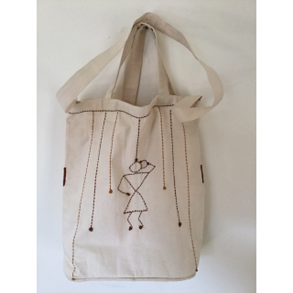 KANTHA EMBROIDERED 100% ORGANIC COTTON TOTE BAGS