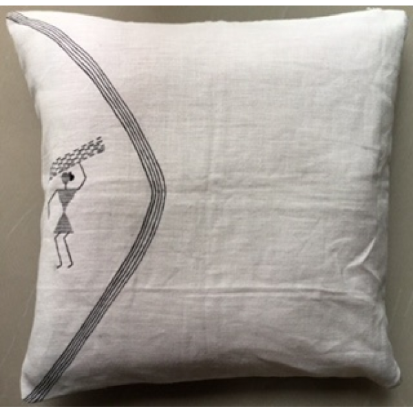 HAND PAINTED WARLI   LINEN CUSHION COVERS   SET OF 3 PC