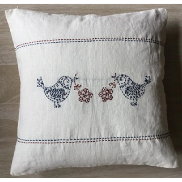 KANTHA EMBROIDERED, LINEN CUSHION COVERS  SET OF 3 PC