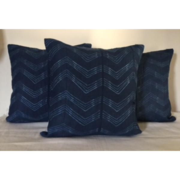 SHIBORI DYED  LINEN/COTTON CUSHION COVERS  SET OF 3 PC