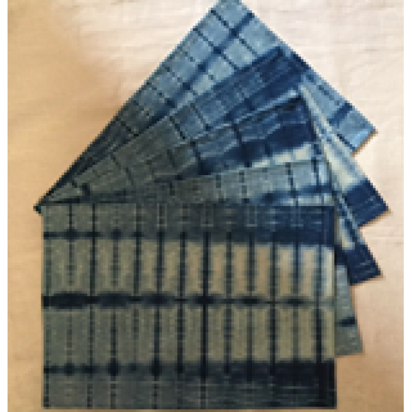 HANDCRAFTED CLAMP DYED ORGANIC TABLE MATS SET OF 4 PC