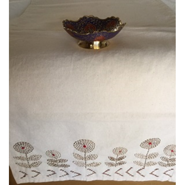 HANDCRAFTED- KANTHA EMBROIDERED ORGANIC TABLE RUNNER