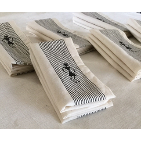 HANDCRAFTED WARLI PAINTED ORGANIC TABLE NAPKINS SET OF 4 PC