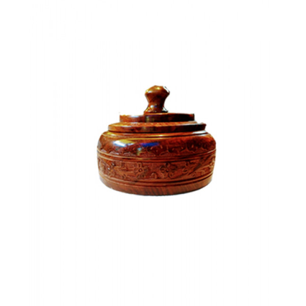 Wooden carved circular jewellery box