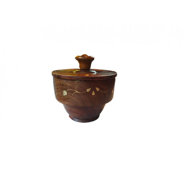 Brass inlay worked wooden Bowl with cap
