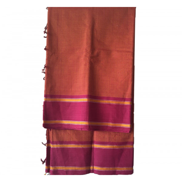 Handloom South Cotton Saree With Art Silk In Its Weft  For A Subtle Sheen Pure Cotton