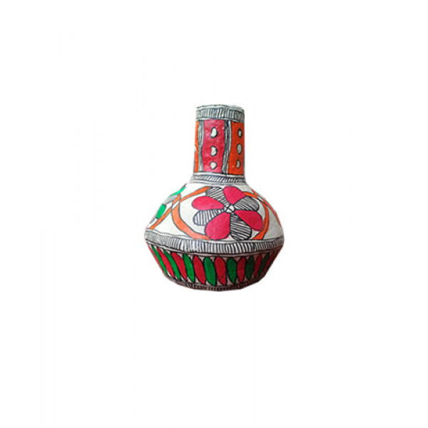 Madhubani Art- Paper Mache  Flower Vase (small)