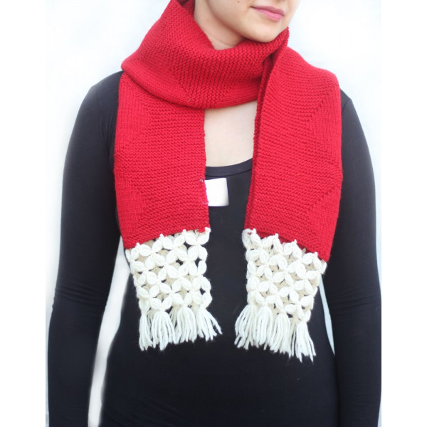 Hand Knit Pure Wool Unisex Scarf