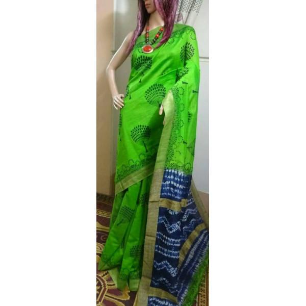 Block printed shibori silk Saree