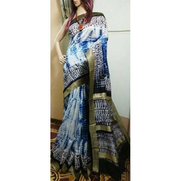 Shibori silk Saree