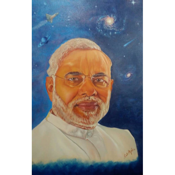 Portrait of Modi ji in oil colors on canvas painting