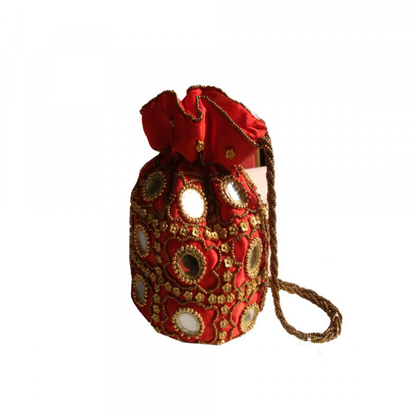 Gujarati Handcrafted And Embroidery Mirror Work  Potli Bag