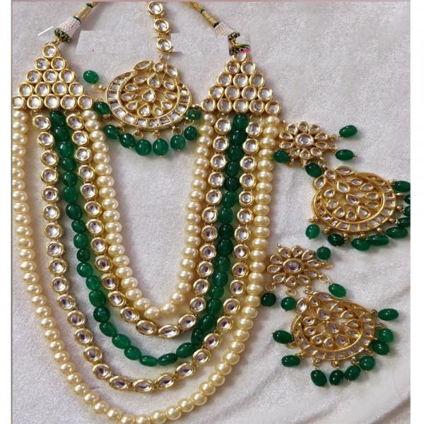 Kundan Jewellery  Set with Glass Pearl and Jade Work