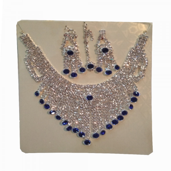 Silver and Blue Colour Hera Necklace  Set