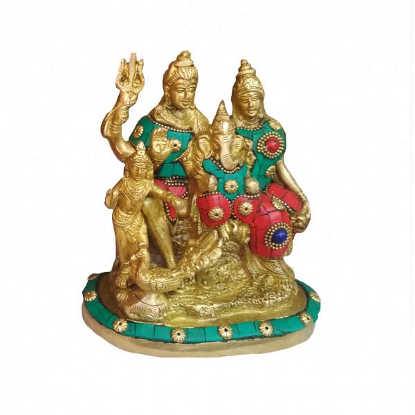 Brass Shiv Parvati Ganesh Status