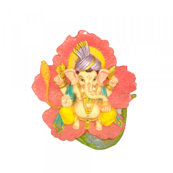 Porcelain Marble Lord  Lotus Ganesh Statue