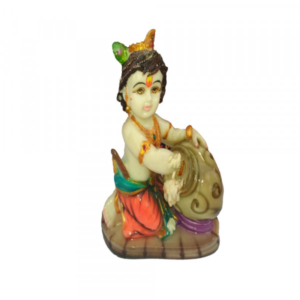 Porcelain Marble Lord Childhood  krishna Statue
