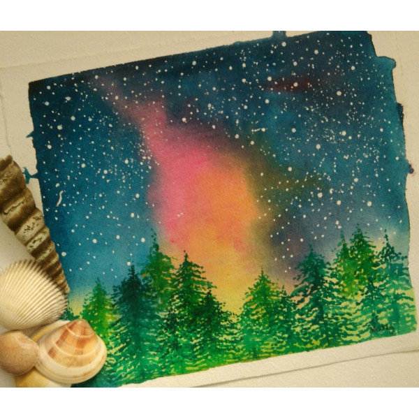 Shree Kabra's Northern Lights Water Color Painting