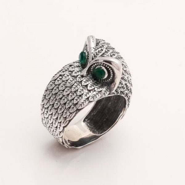 Sterling Silver Carved Owl Ring
