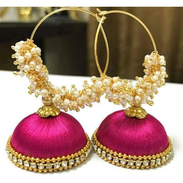 Debu Mehta Pair of Pink Thread Earrings