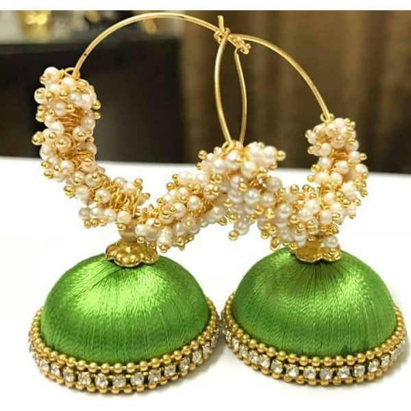 Debu Mehta Pair of Green Thread Earrings