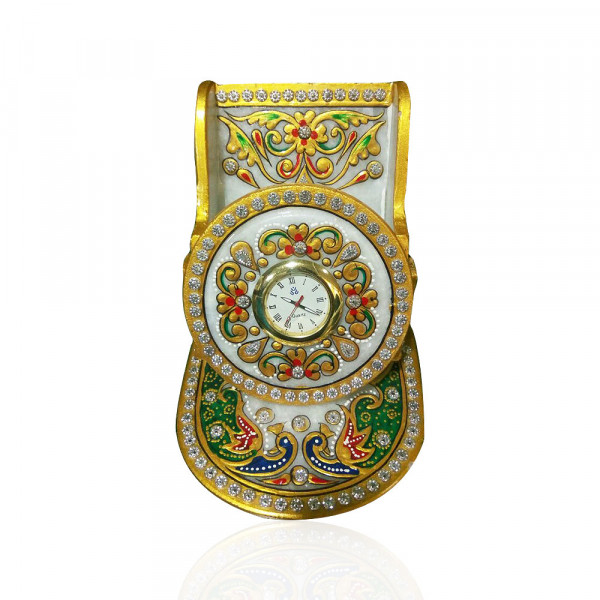 LEVANTAR MAKRANA MARBLE MOBILE/PEN STAND WITH CLOCK.