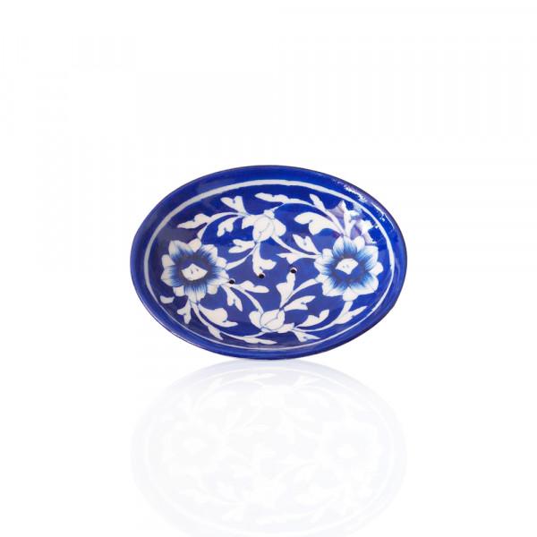 Pawan Blue Art Pottery Soap Dish Set of 3