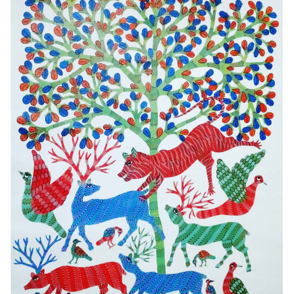 Vijay Shyam Tribal Gond Painting- Tiger Hunt