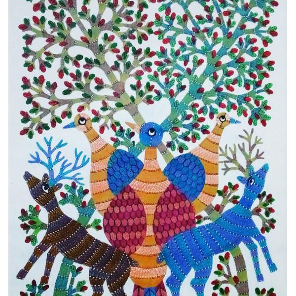Vijay Shyam Tribal Gond Painting- Bhagaisur God