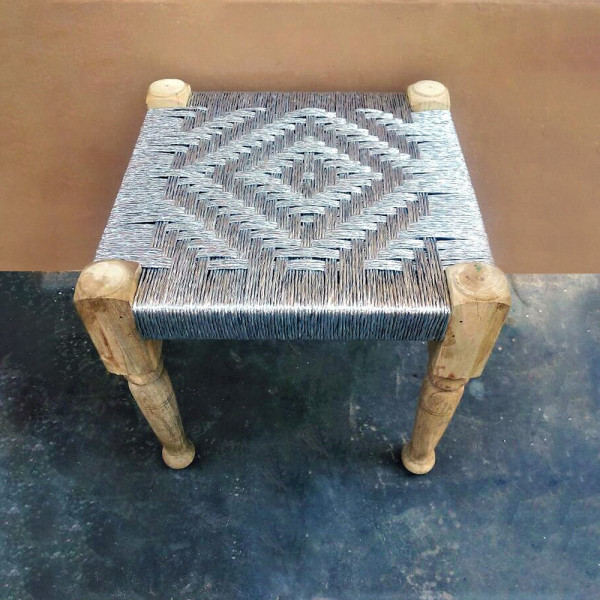Natural Wooden Silver Rope Stool