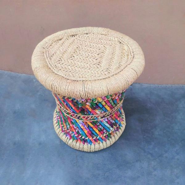 Natural Sarkanda and Cloth Stool