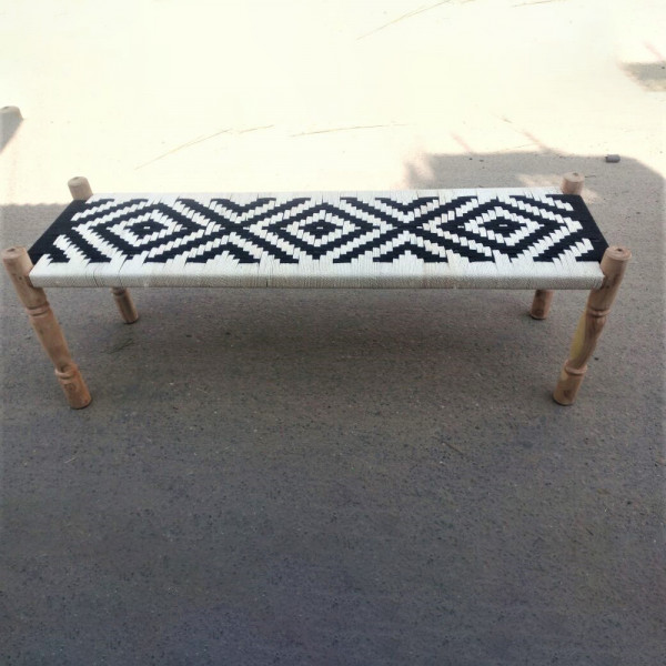 Natural Cotton and Rope Bench
