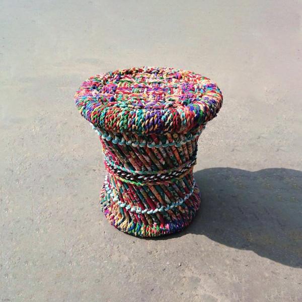 Natural Sarkanda Chindi and Cloth Stool