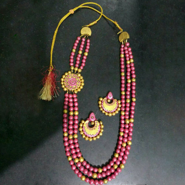 Kavitha Gowthaman Tarracotta Necklace set