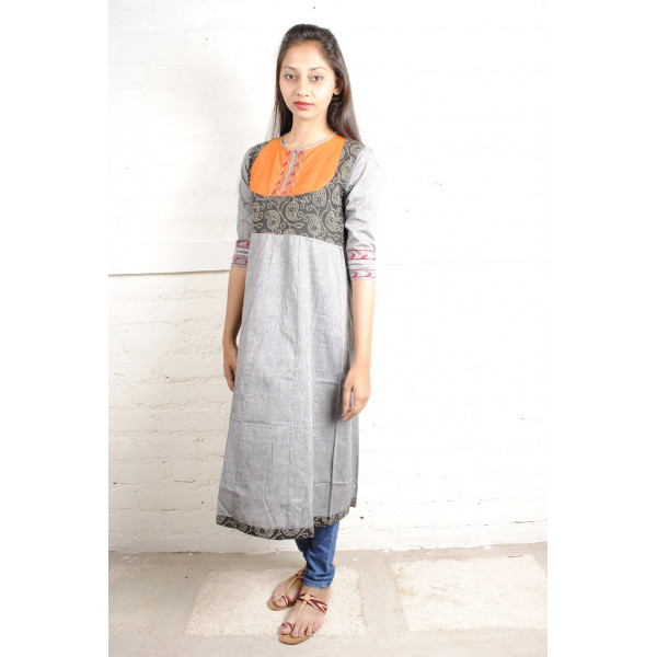Sabala Handicrafts Grey Mango Hand Embroidered Kurta