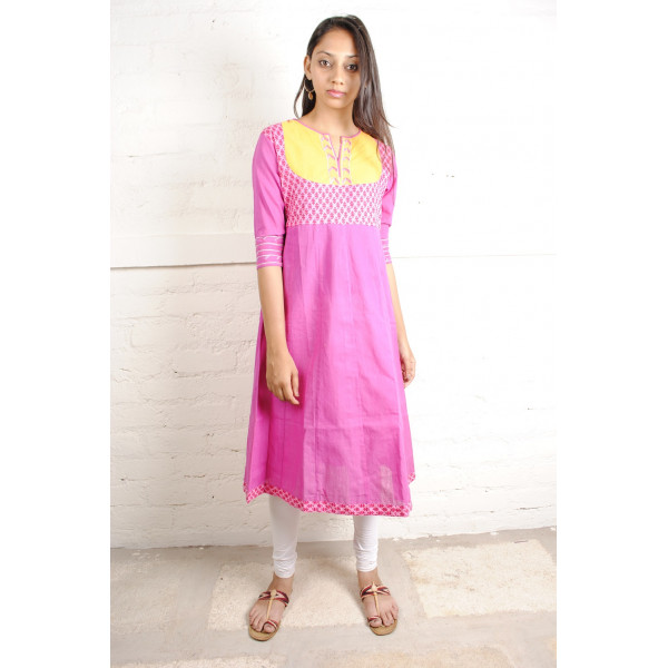 Sabala Handicrafts Pretty in Pink Hand Embroidered Kurta
