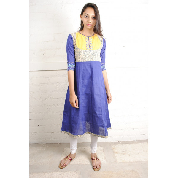 Sabala Handicrafts Night Sky Blue and Yellow Hand Embroidered Kurta