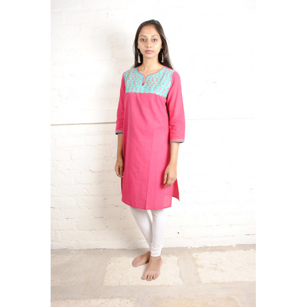 Sabala Handicrafts Fuchsia Light Blue Hand Embroidered Kurta