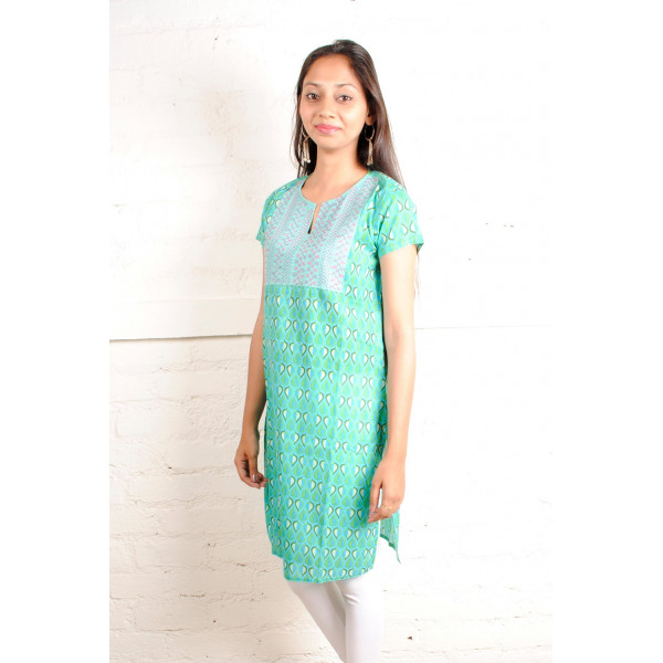 Sabala Handicrafts Turquoise Lake Hand Embroidered Kurta