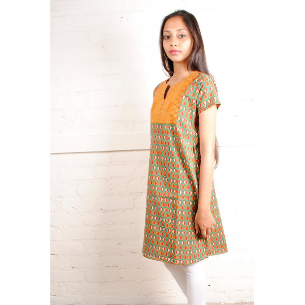 Sabala Handicrafts Green Orange Hand Embroidered  Kurta