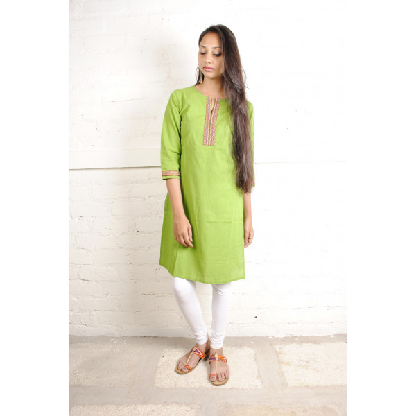 Sabala Handicrafts Grass Green Hand Embroidered Kurta