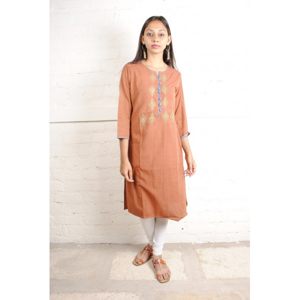 Sabala Handicrafts Orange Brick Hand Embroidered Kurta