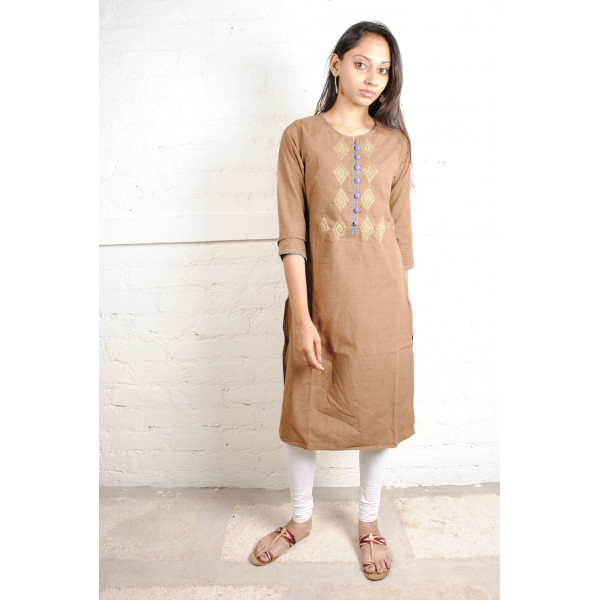 Sabala Handicrafts Cinnamon Brown Hand Embroidered Kurta